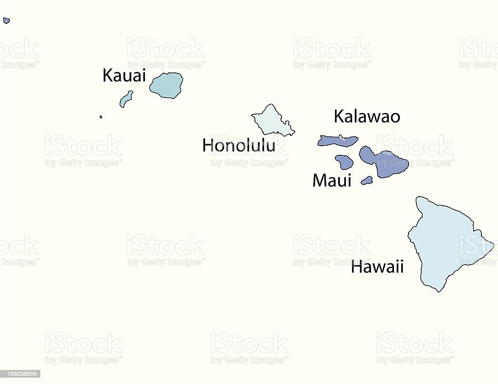 Hawaii state - county map royalty-free stock vector art