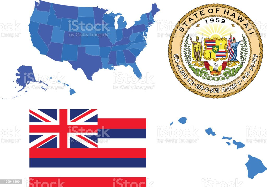 Hawaii state set royalty-free stock vector art
