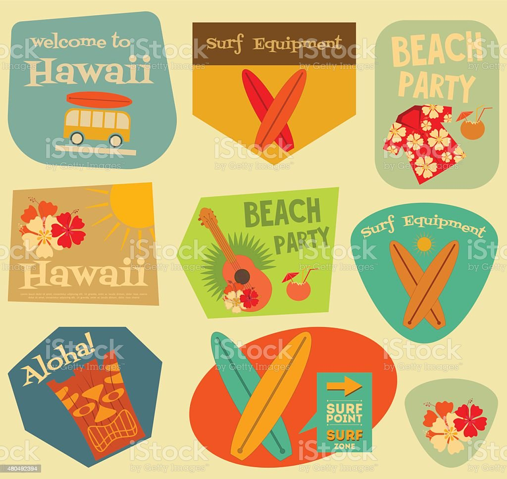 Hawaii stickers collection vector art illustration