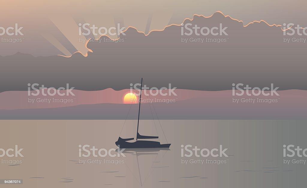 Hawaii sunset vector art illustration