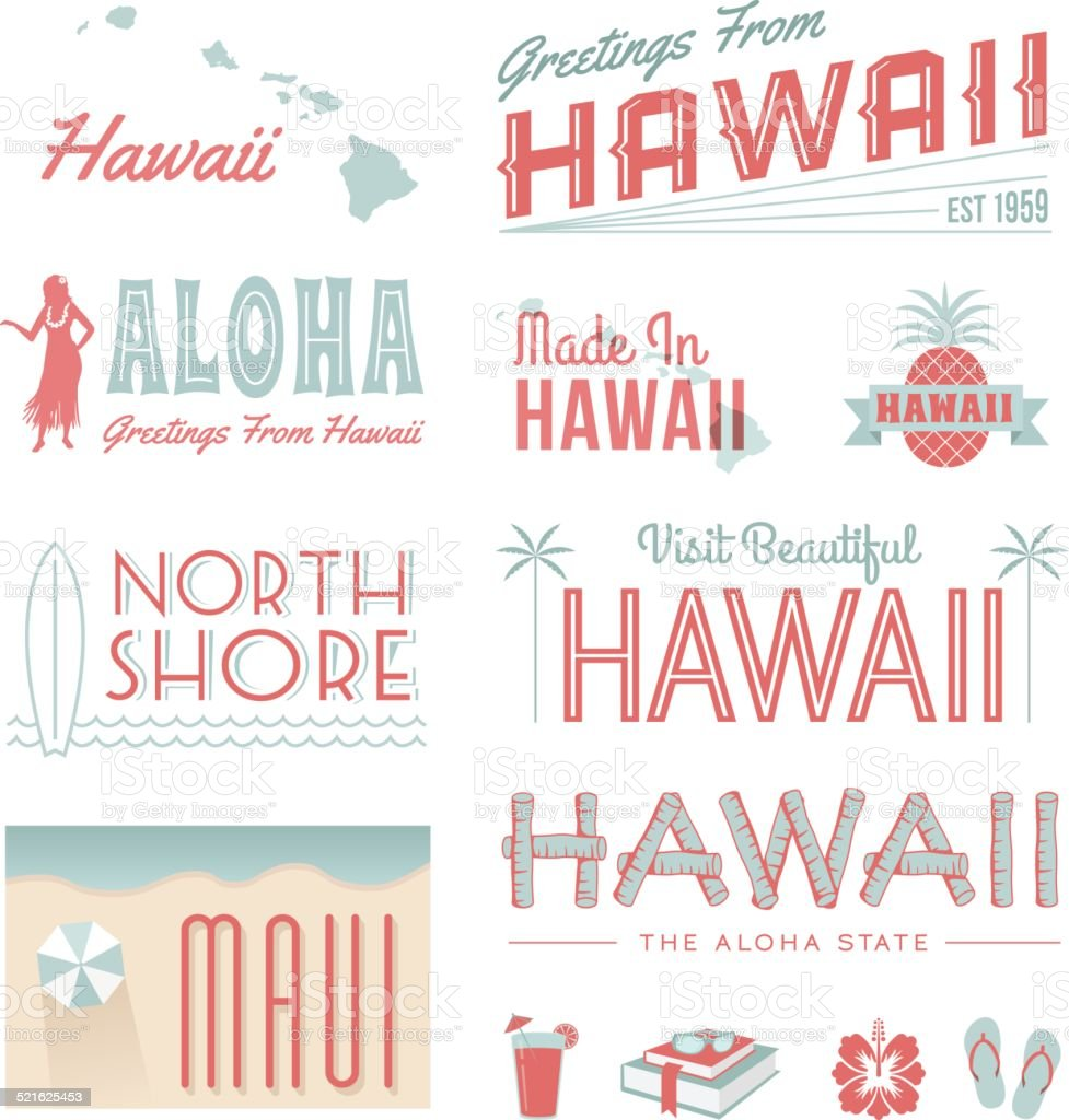 Hawaii Text vector art illustration