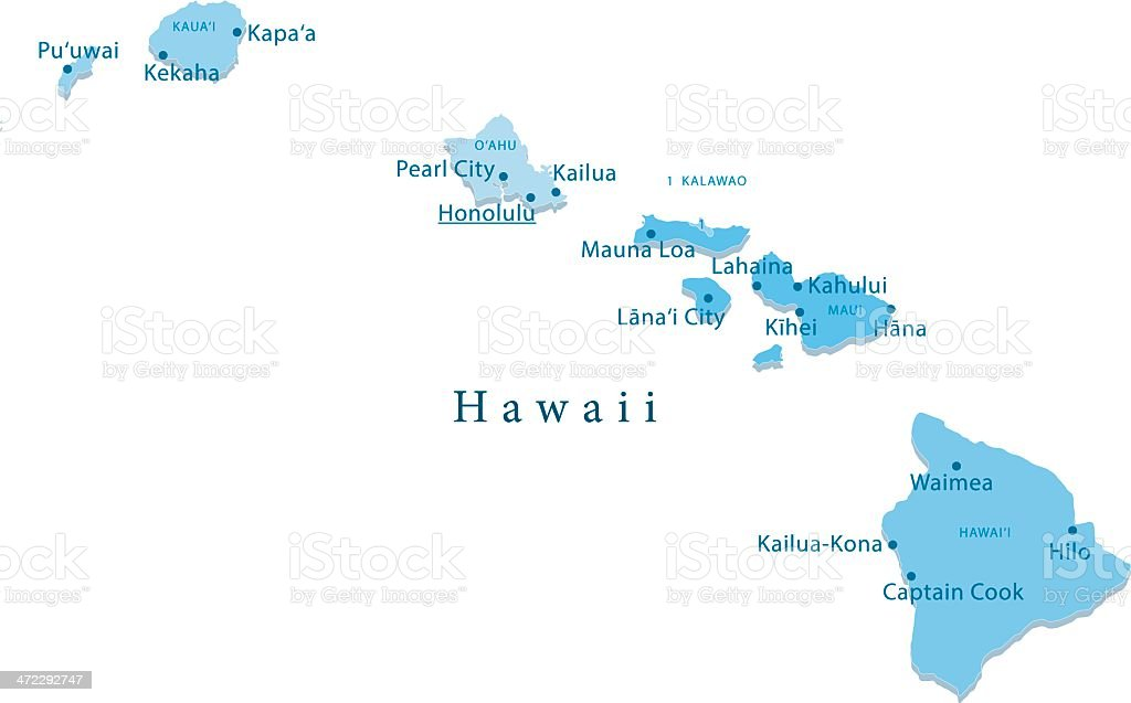 Hawaii Vector Map Regions Isolated vector art illustration
