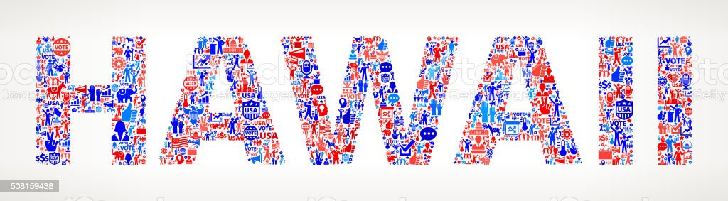 Hawaii Vote and Elections USA Patriotic Icon Pattern vector art illustration