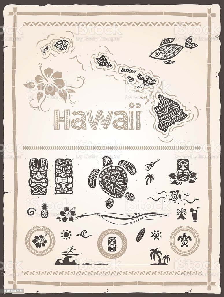 Hawaiian Design Elements vector art illustration
