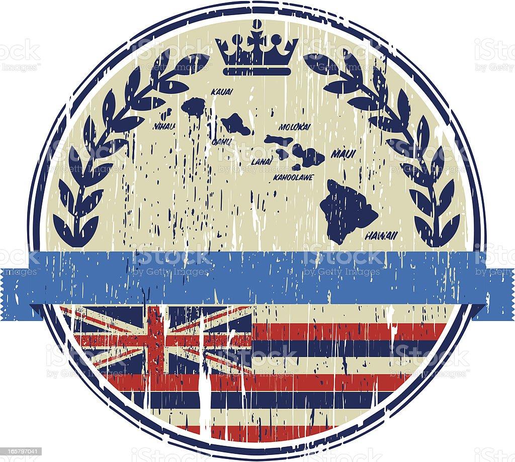 hawaiian emblem vector art illustration