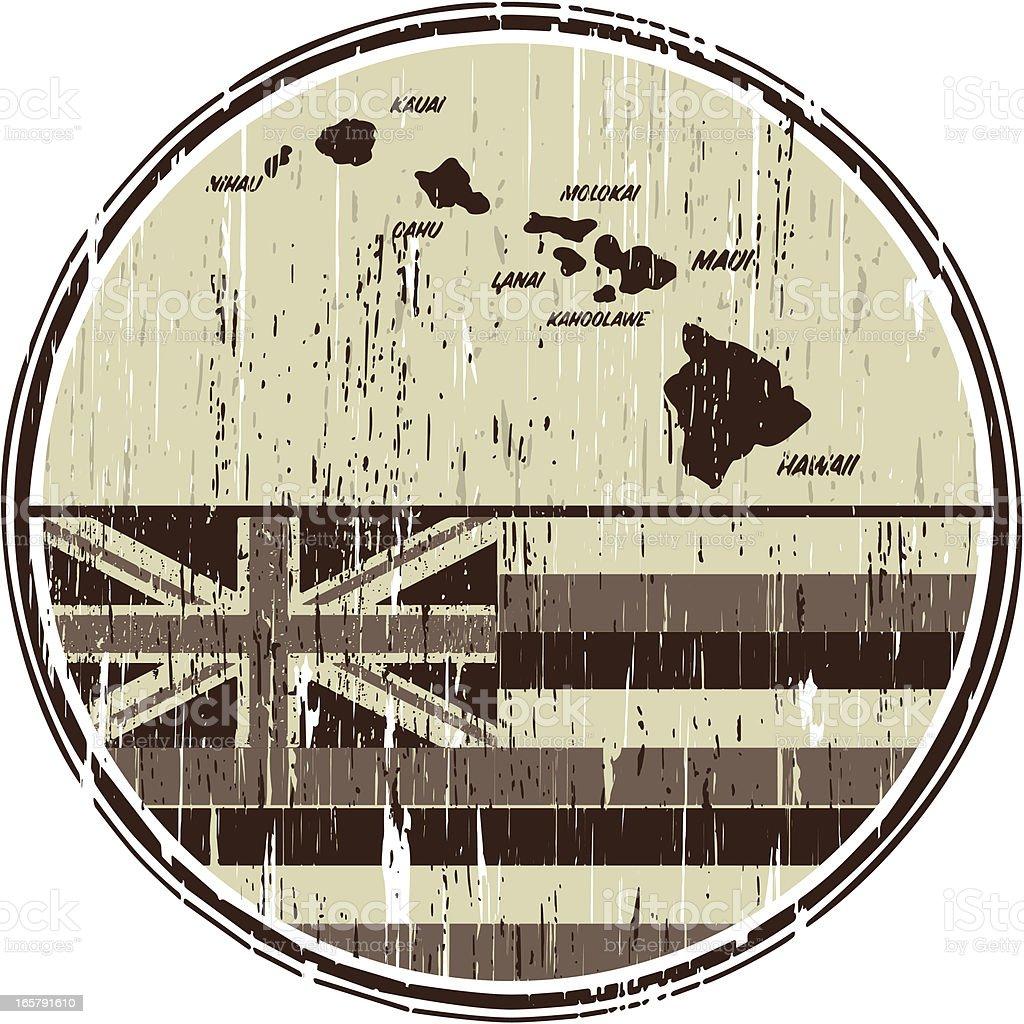 hawaiian flag and map vector art illustration