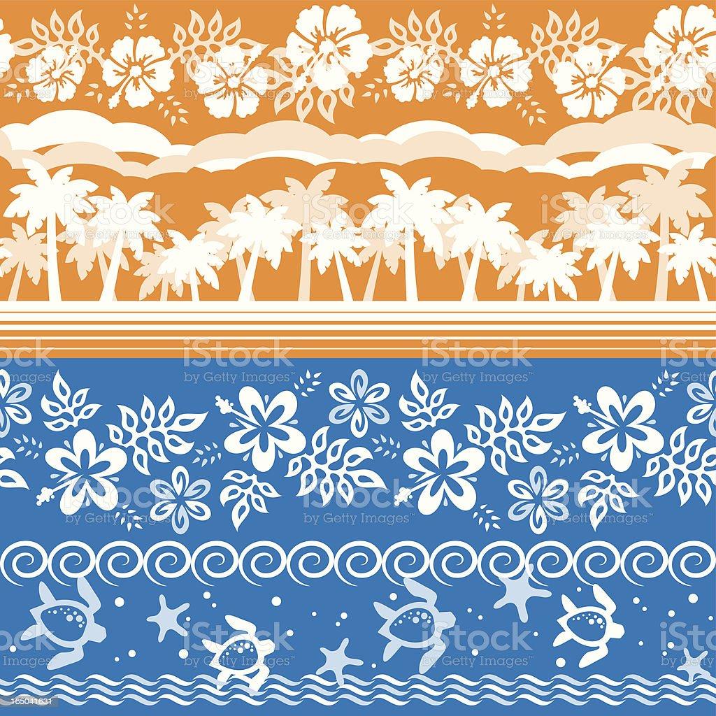 Hawaiian Floral Patterns (Vector) vector art illustration