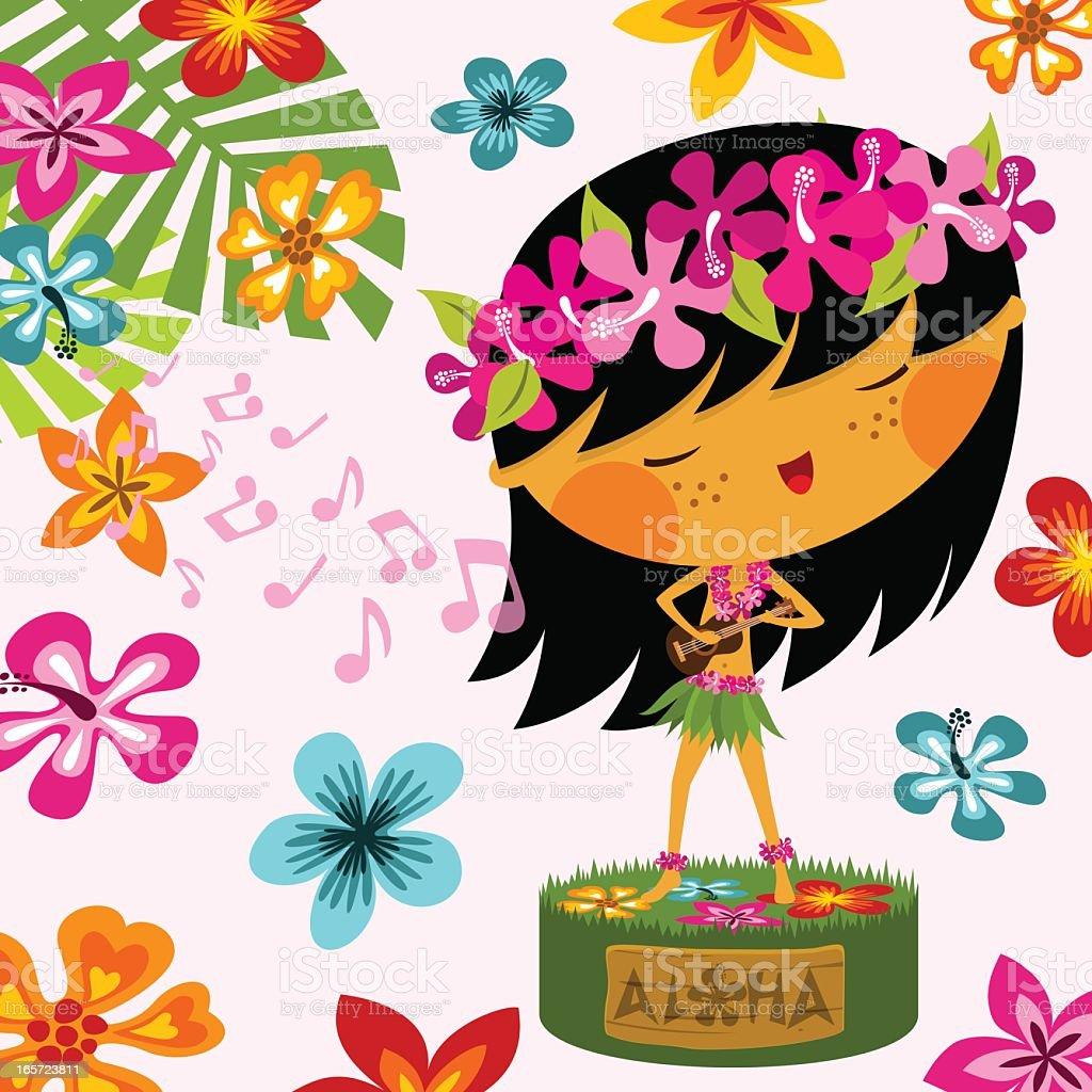 Hawaiian girl vector art illustration