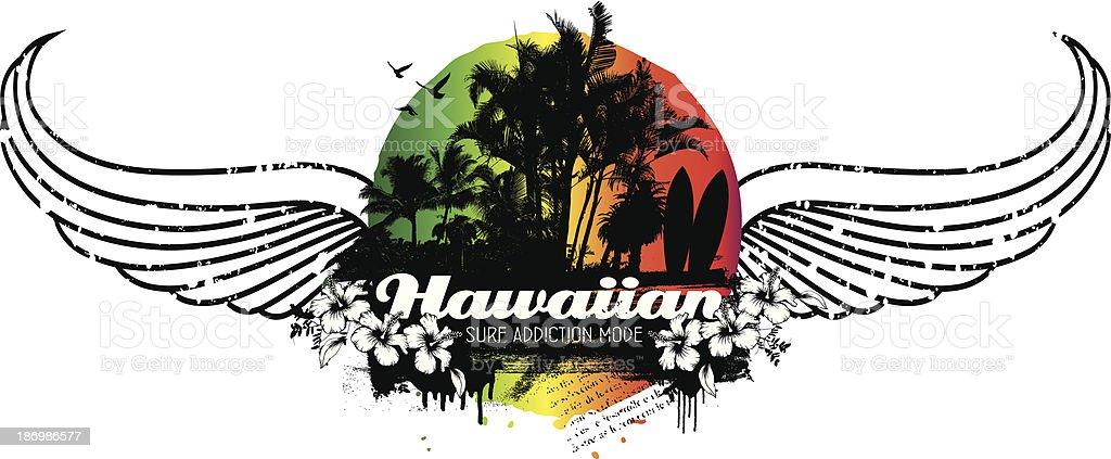 hawaiian grunge summer scene with wings royalty-free stock vector art