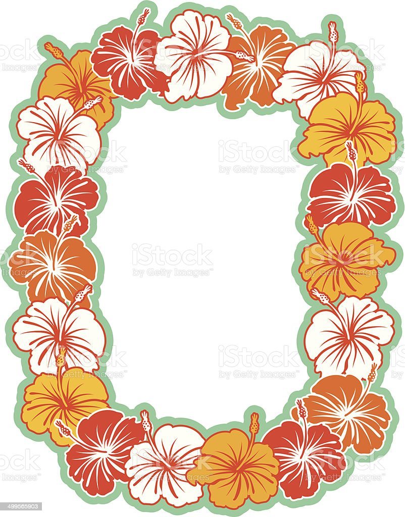 Hawaiian Hibiscus Wreath Background vector art illustration