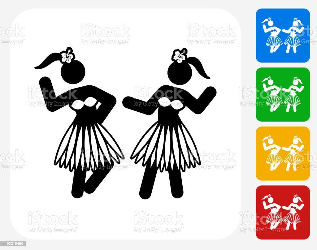 Hawaiian Hula Dance Icon Flat Graphic Design vector art illustration