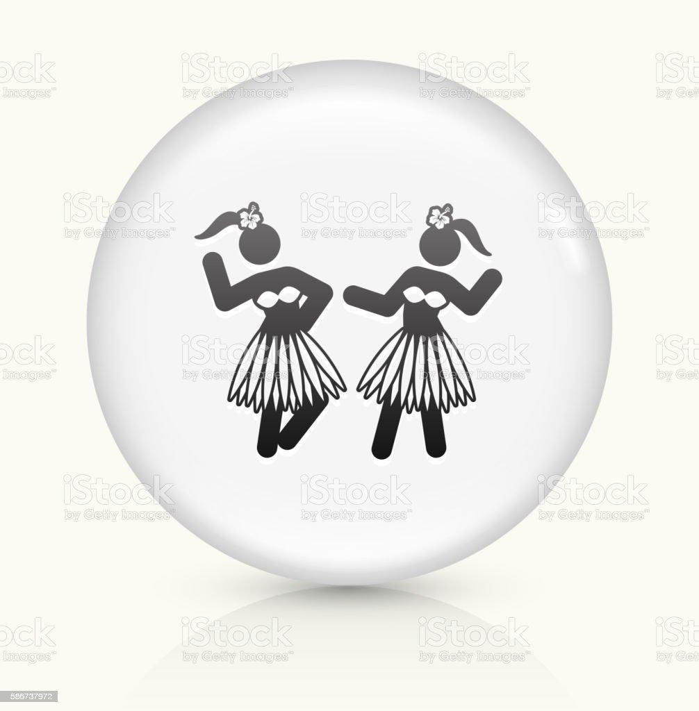 Hawaiian Hula Dance icon on white round vector button vector art illustration