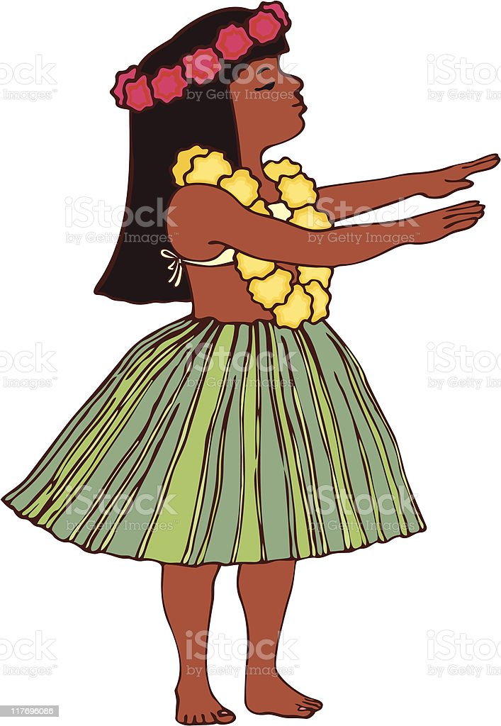 Hawaiian Hula Girl royalty-free stock vector art