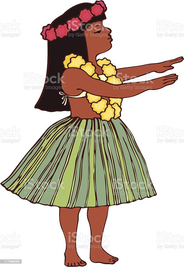 Hawaiian Hula Girl vector art illustration
