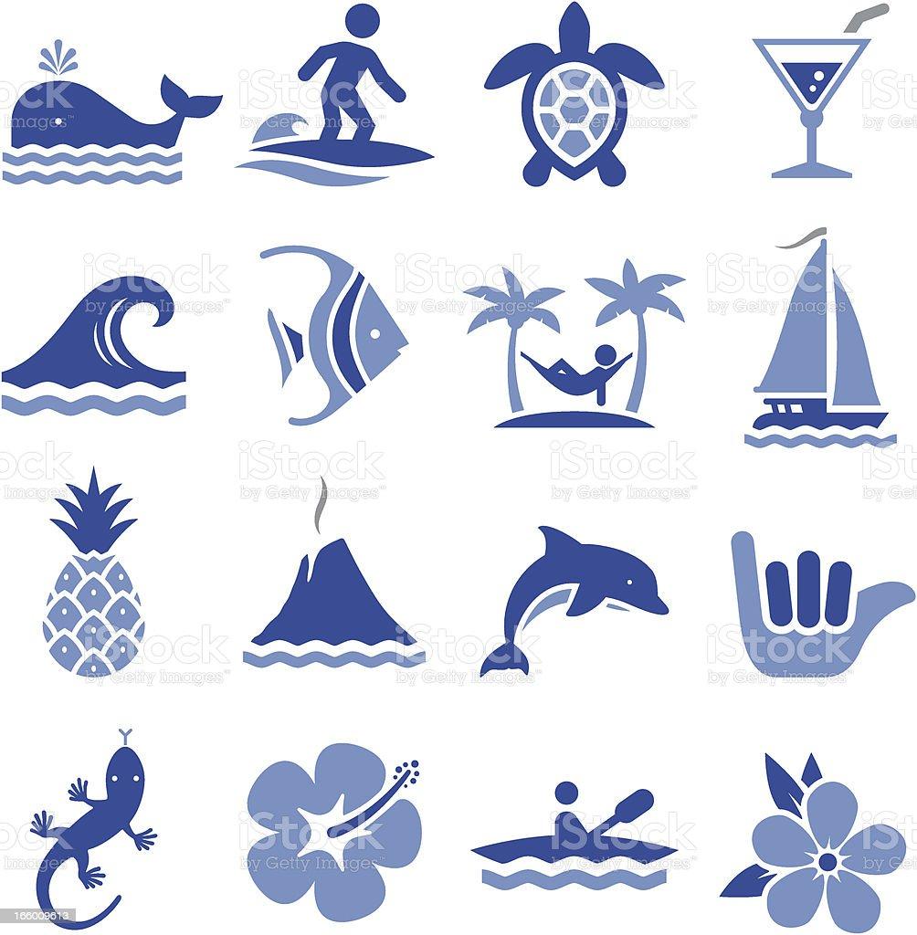Hawaiian Icons vector art illustration