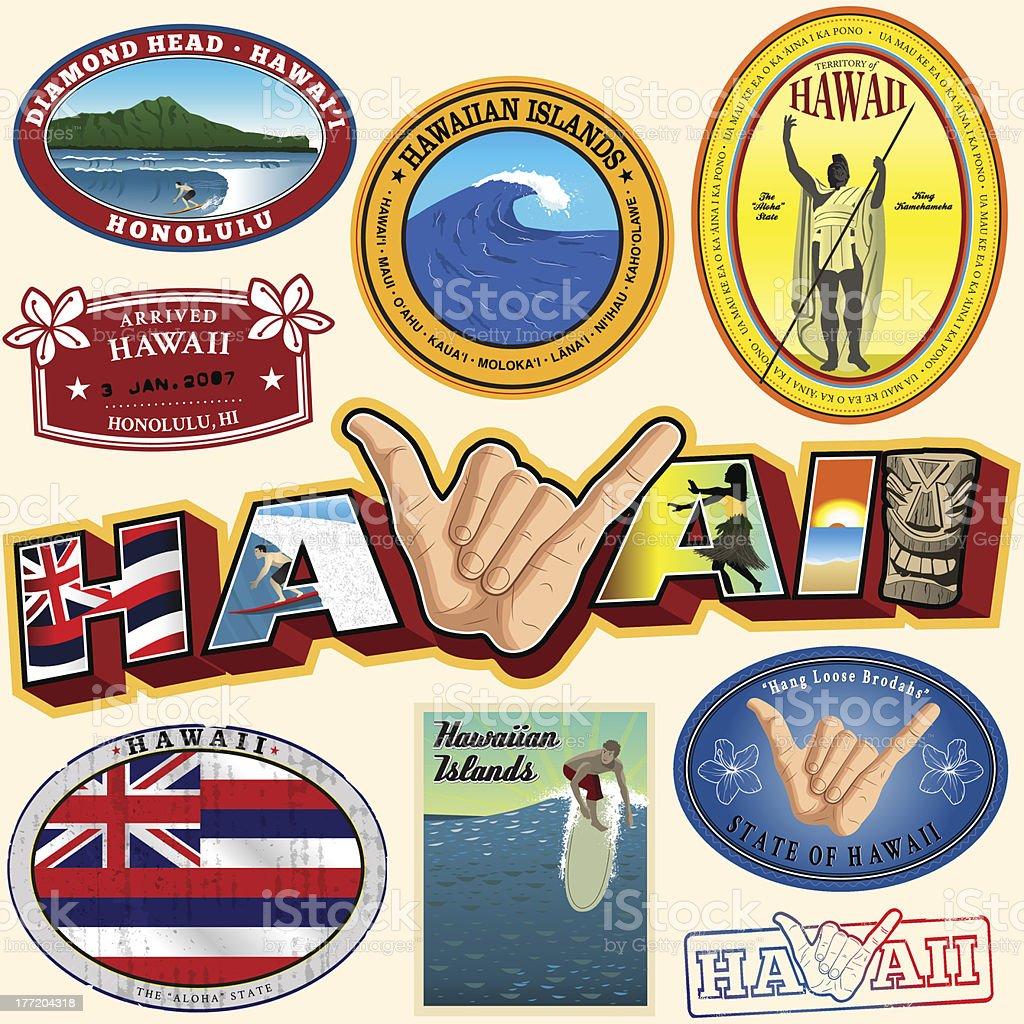 Hawaiian Lanmarks and Magic vector art illustration