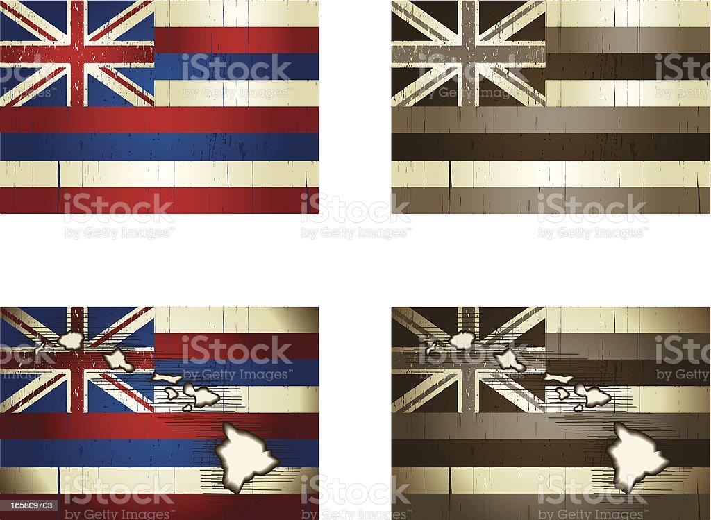 hawaiian map and flag vector art illustration
