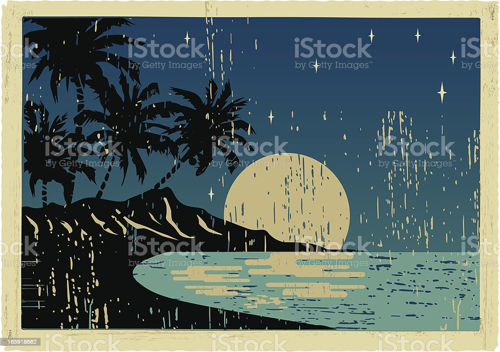 hawaiian night postcard vector art illustration
