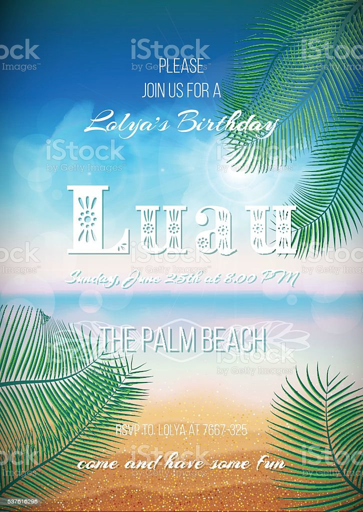 Hawaiian Party, Luau feast poster, flyer, invitation template vector art illustration