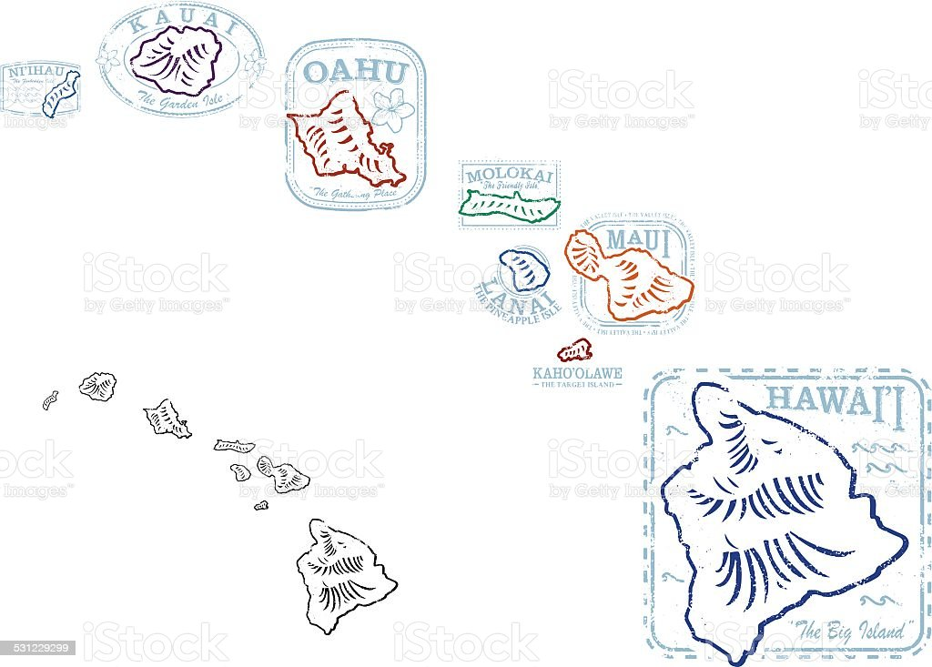 Hawaiian Shape Stamps vector art illustration