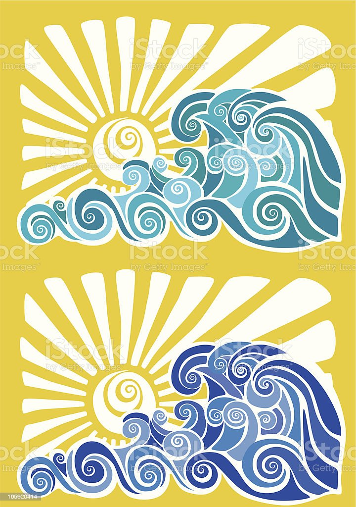 Hawaiian sunset and waves stencil royalty-free stock vector art