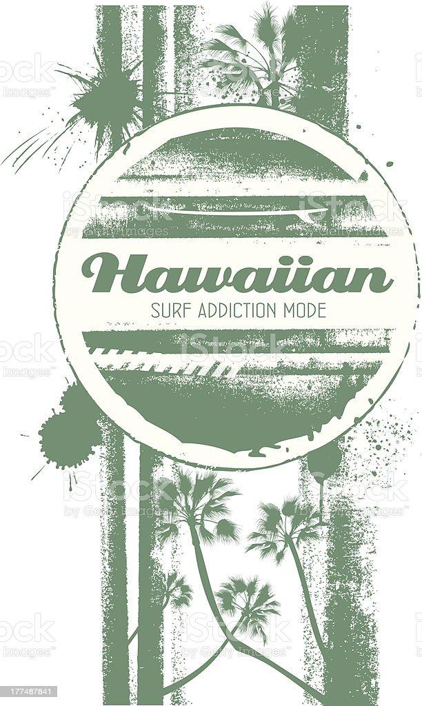 hawaiian surf addiction mode shield vector art illustration