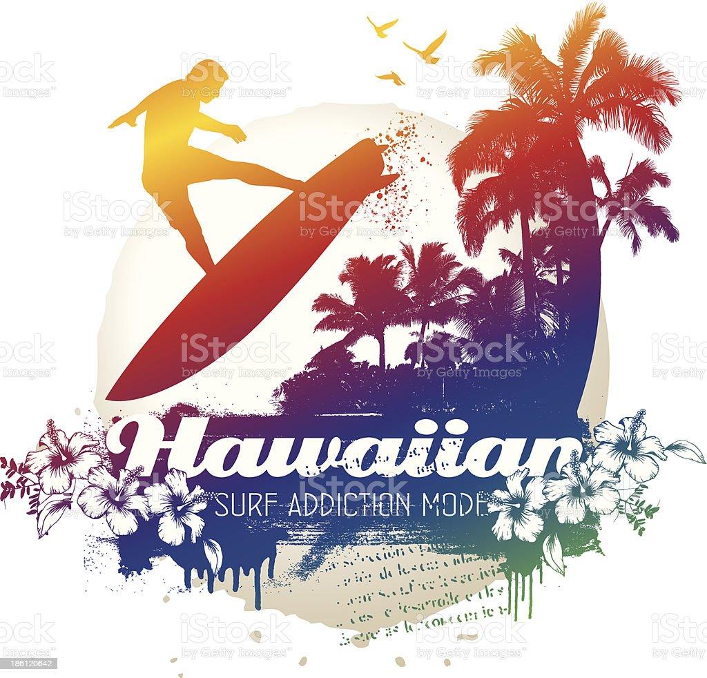 hawaiian surf addiction scene with surfer vector art illustration