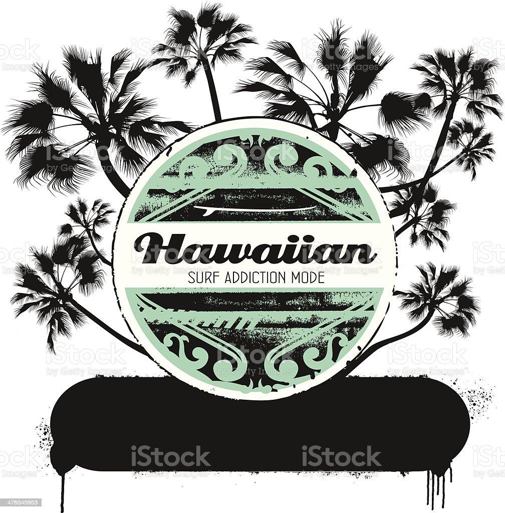 hawaiian surf shield with palms vector art illustration