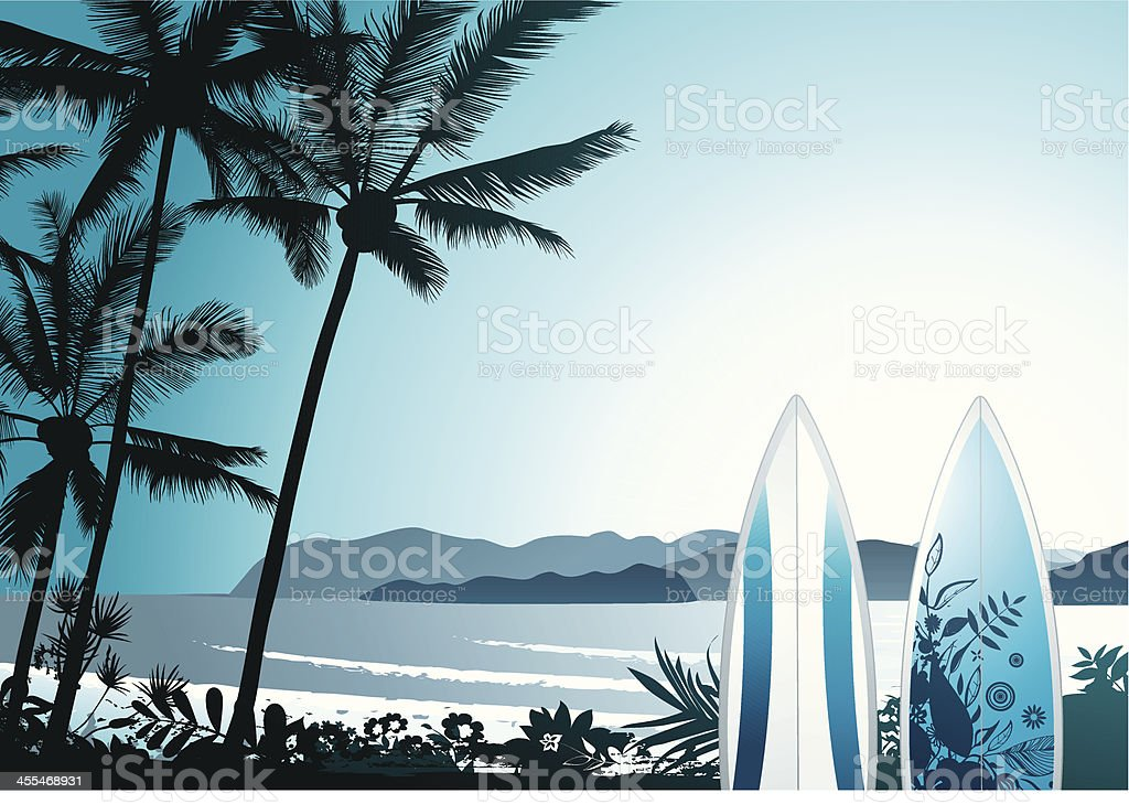 Hawaiian surf vector art illustration