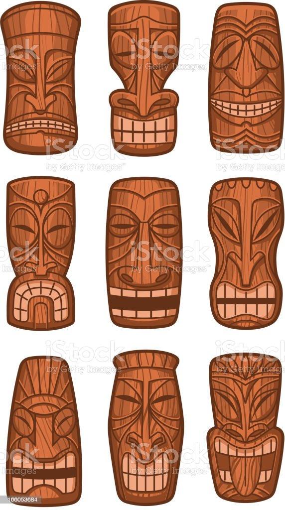 Hawaiian tiki god statue carved polynesian tikki ku wood vector art illustration