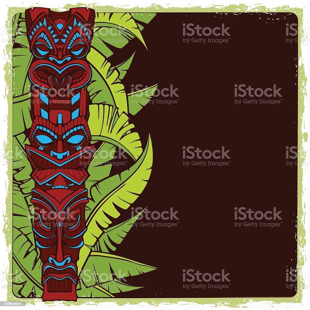 Hawaiian tiki god statue carved wood vector illustration vector art illustration