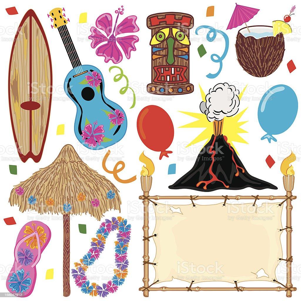 Hawaiian Tiki Party Clip Art vector art illustration