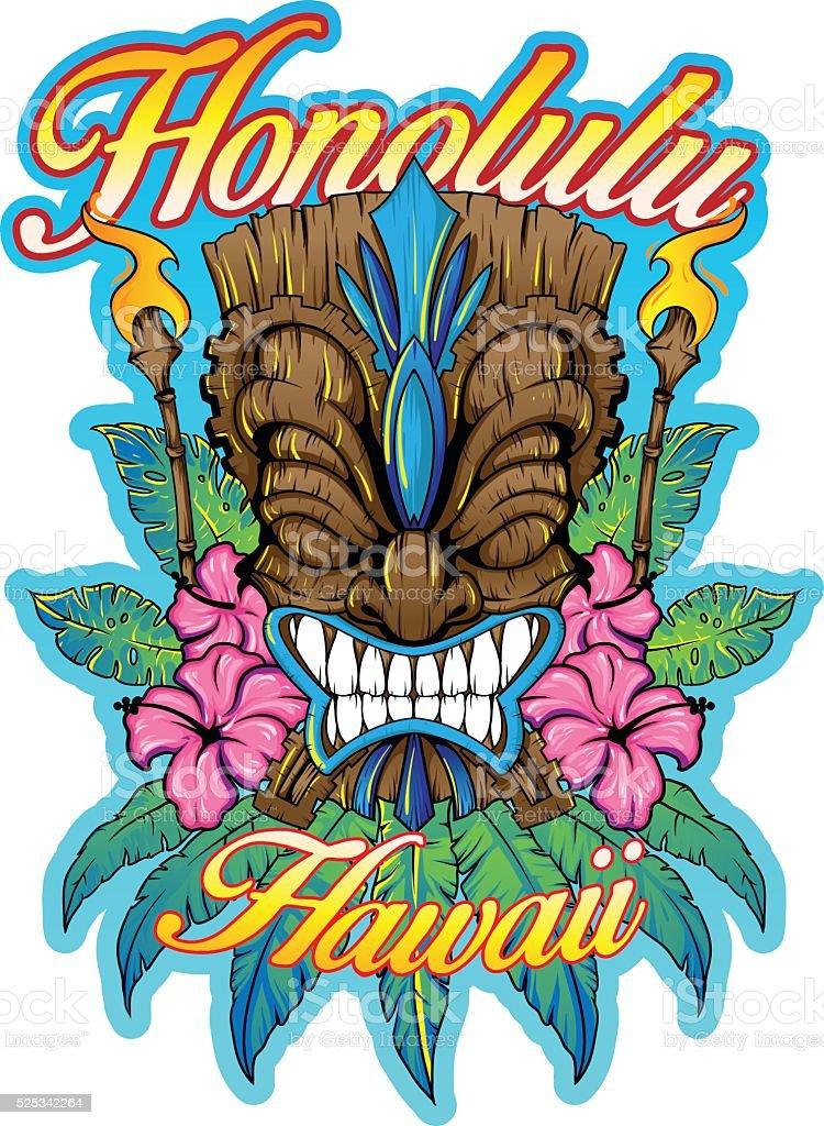 Hawaiian Tiki vector art illustration