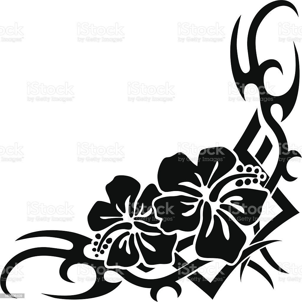 Hawaiian tribal corner stock vector art 165606409 istock - Design art black and white ...