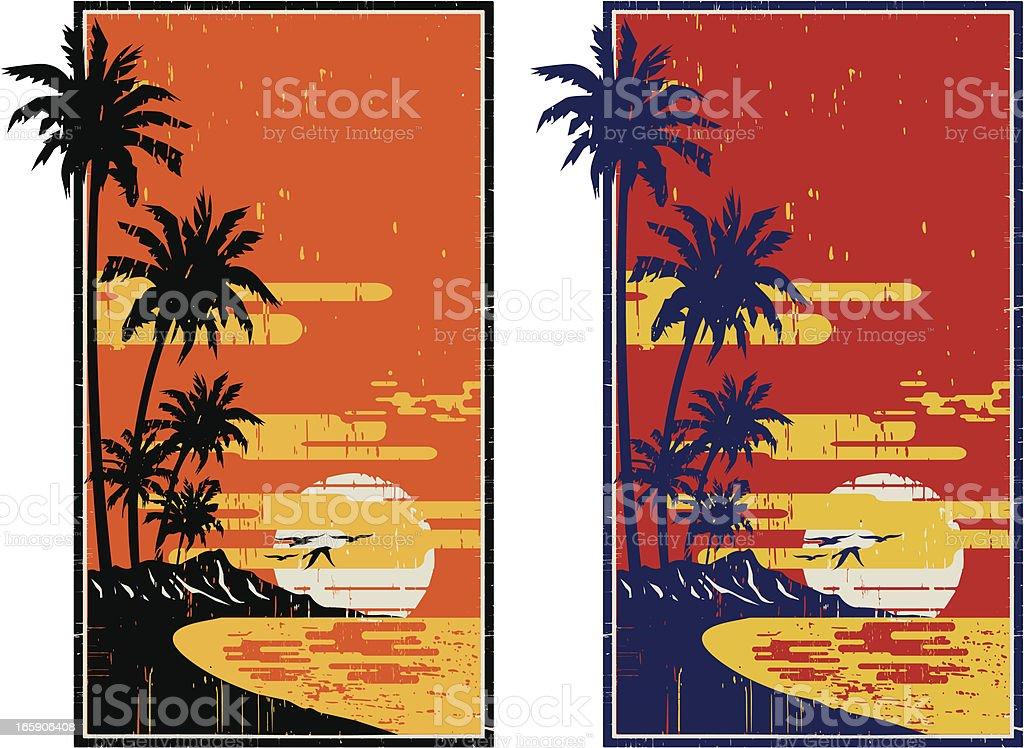 hawaiian vintage frame royalty-free stock vector art