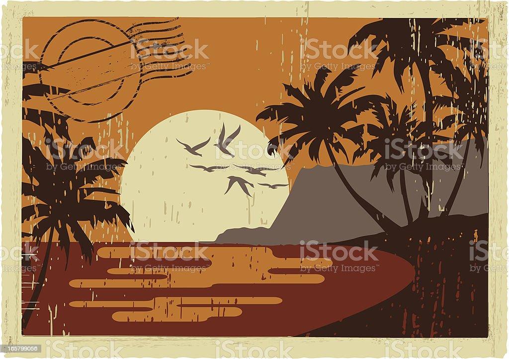 hawaiian vintage postcard vector art illustration