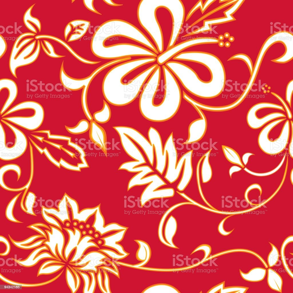Hawaiian wallpaper in white floral pattern over red royalty-free stock vector art