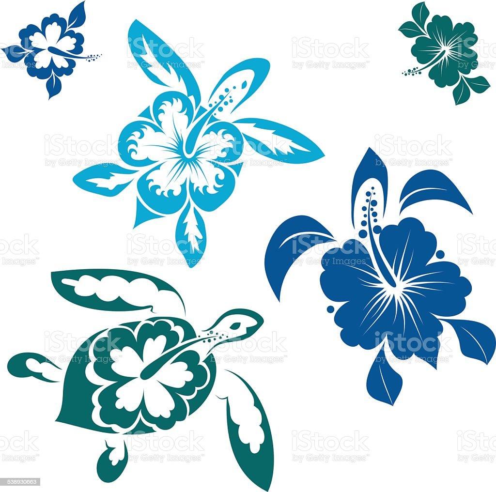 hawaiin turtles vector art illustration