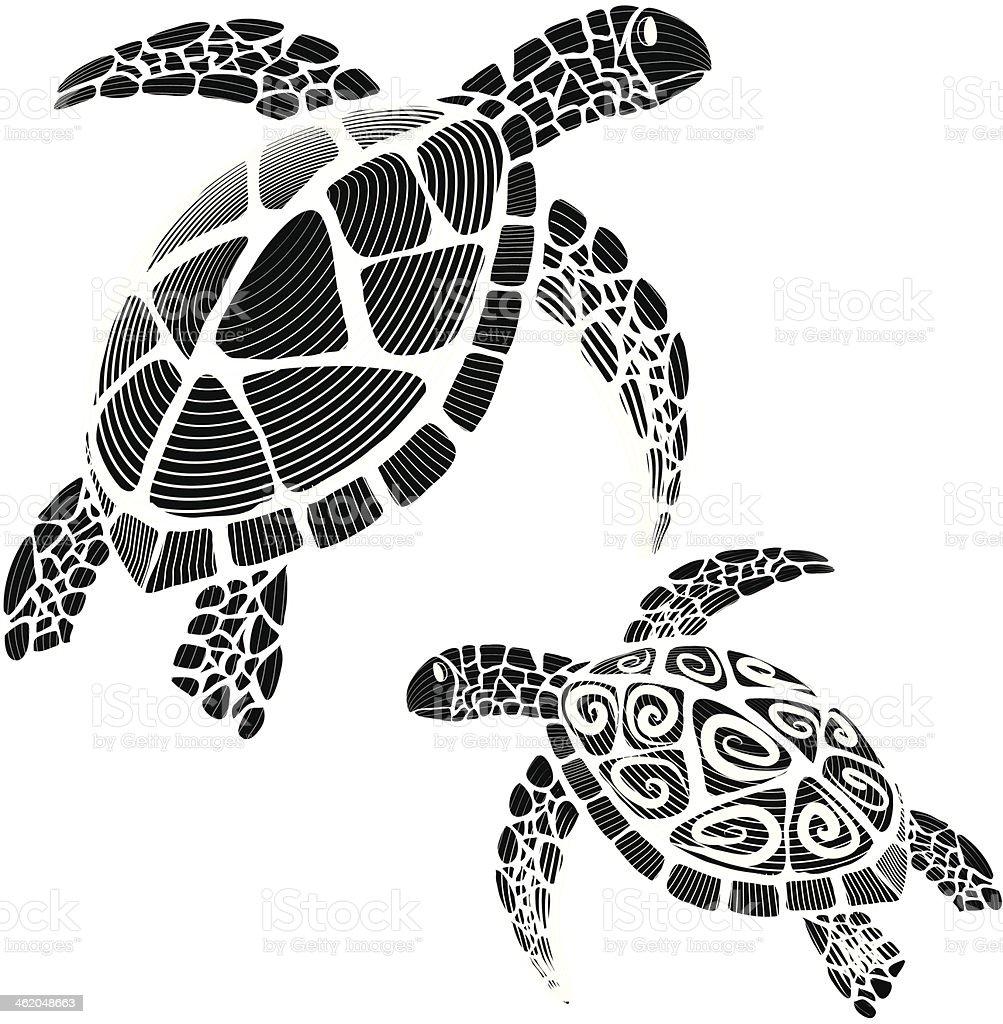 Hawksbill Sea Turtle Silhouettes Swirl Tribal stock vector ...