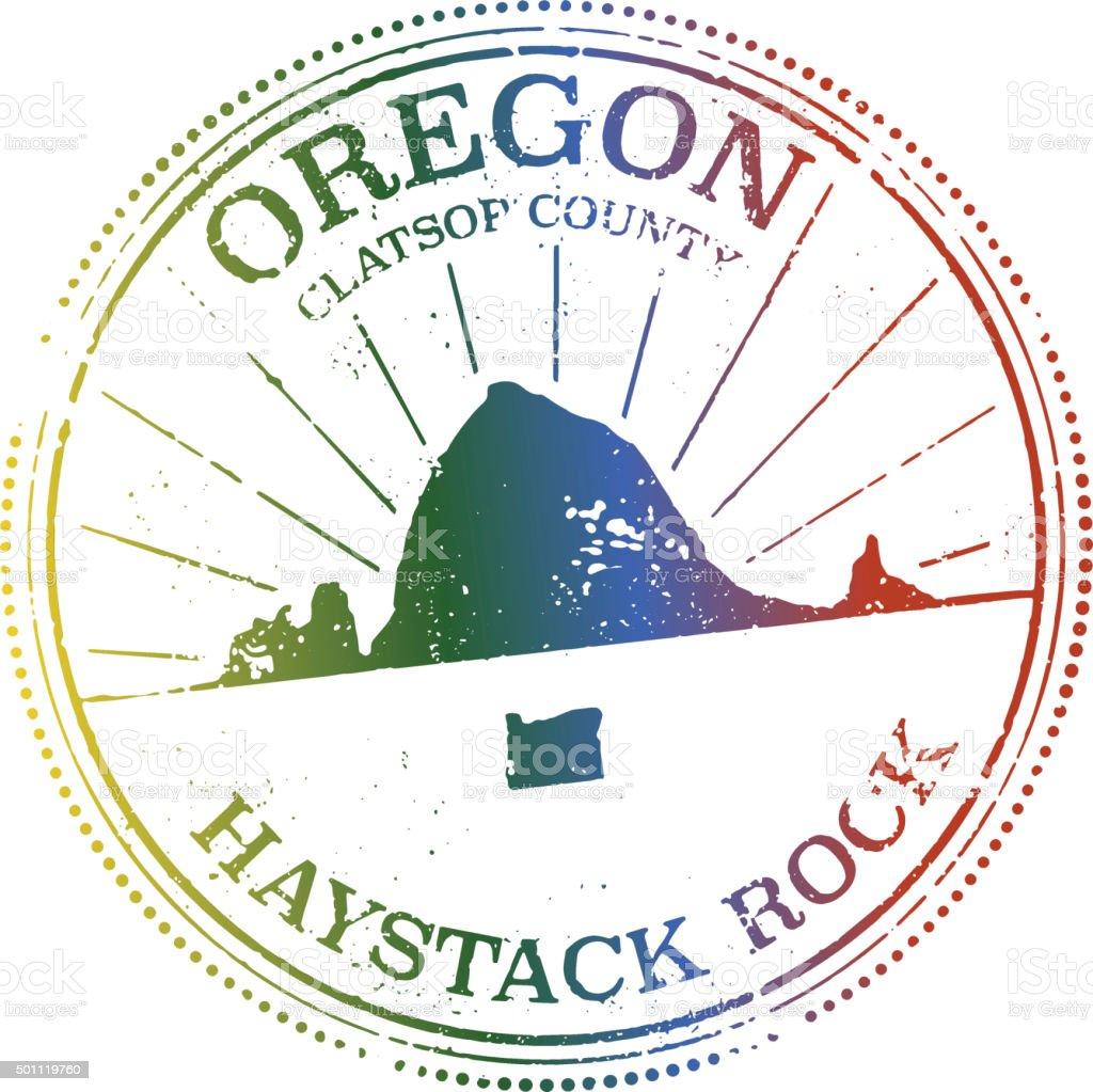 Haystack Rock - Oregon Stamp vector art illustration