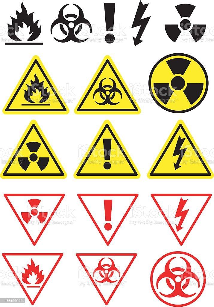 Hazard Icons and Symbols vector art illustration