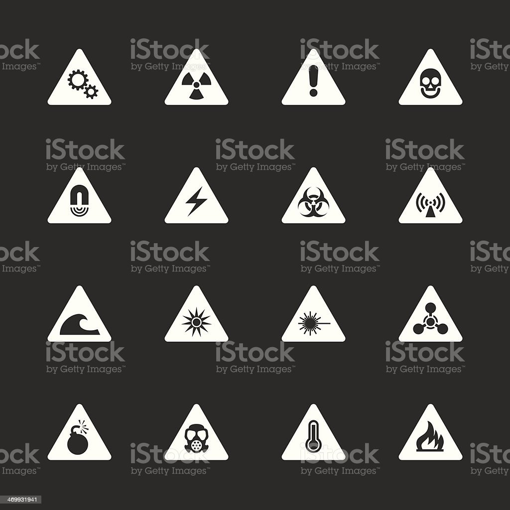 Hazard Icons - White Series royalty-free stock vector art
