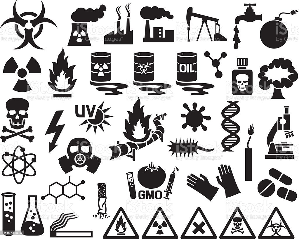 hazard, pollution and danger icons set (barrels with nuclear waste) vector art illustration
