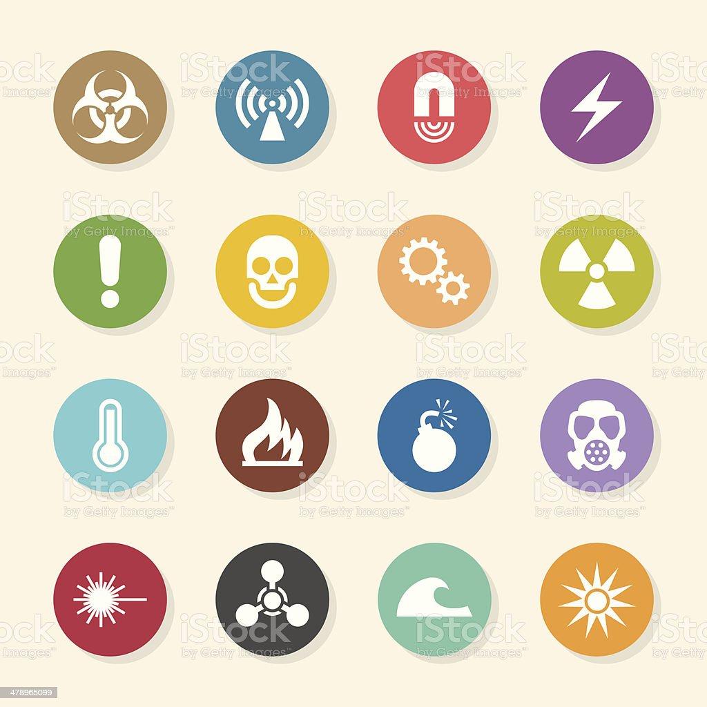 Hazard Sign Icons - Color Circle Series royalty-free stock vector art