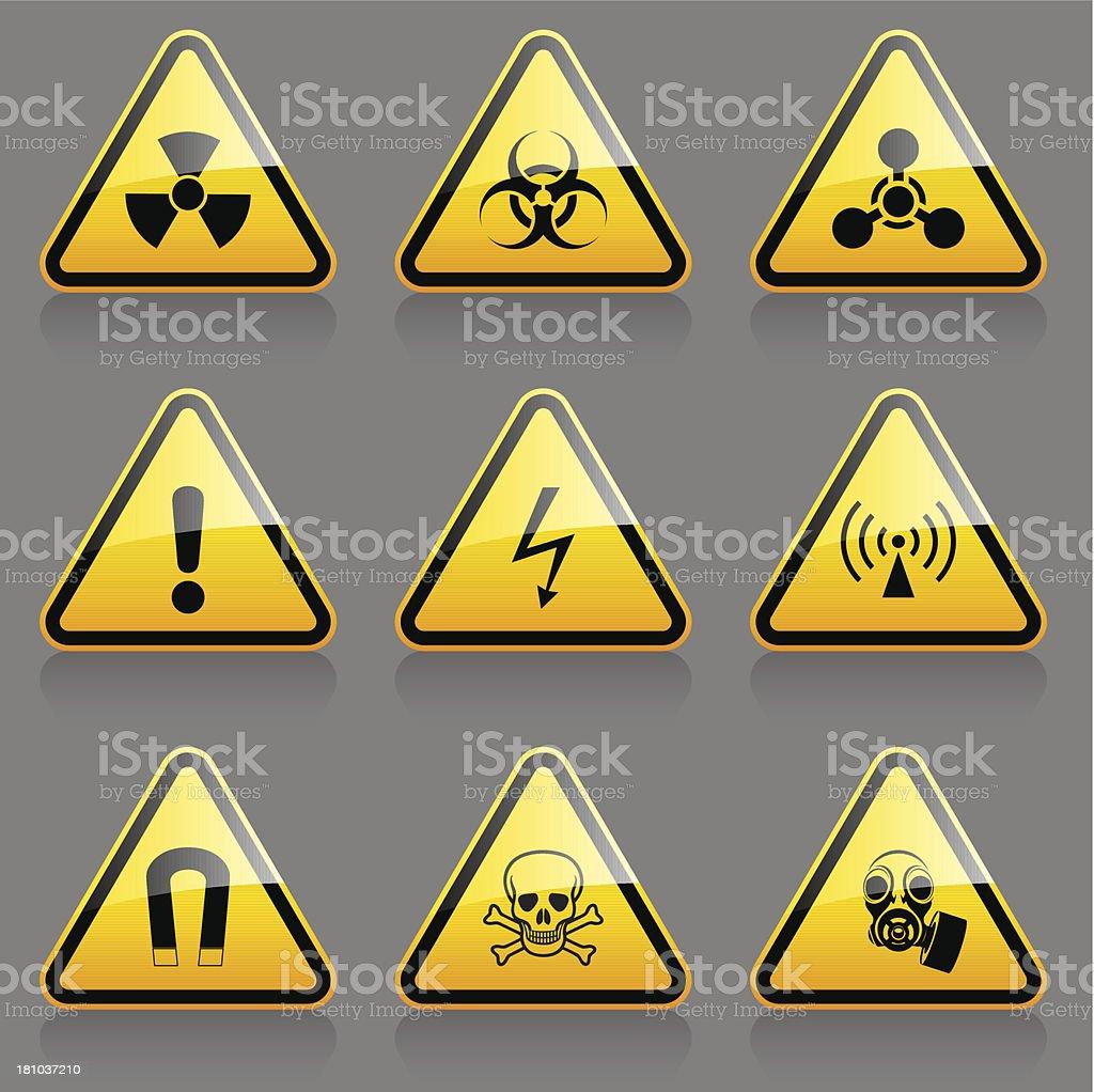 Hazard symbols vector art illustration