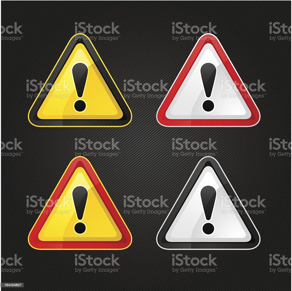 Hazard warning attention sign set on a metal surface vector art illustration