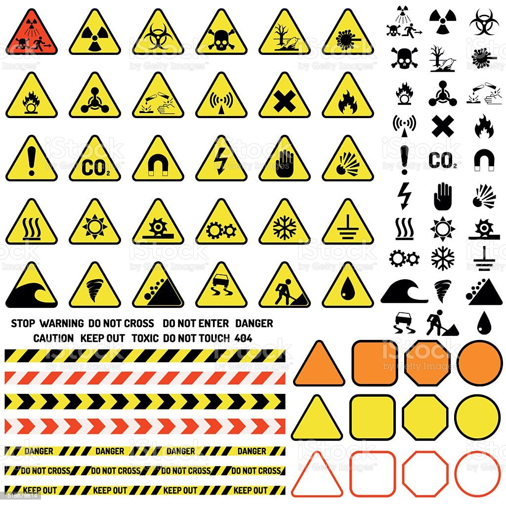 Hazard warning attention sign with exclamation mark symbol information and vector art illustration