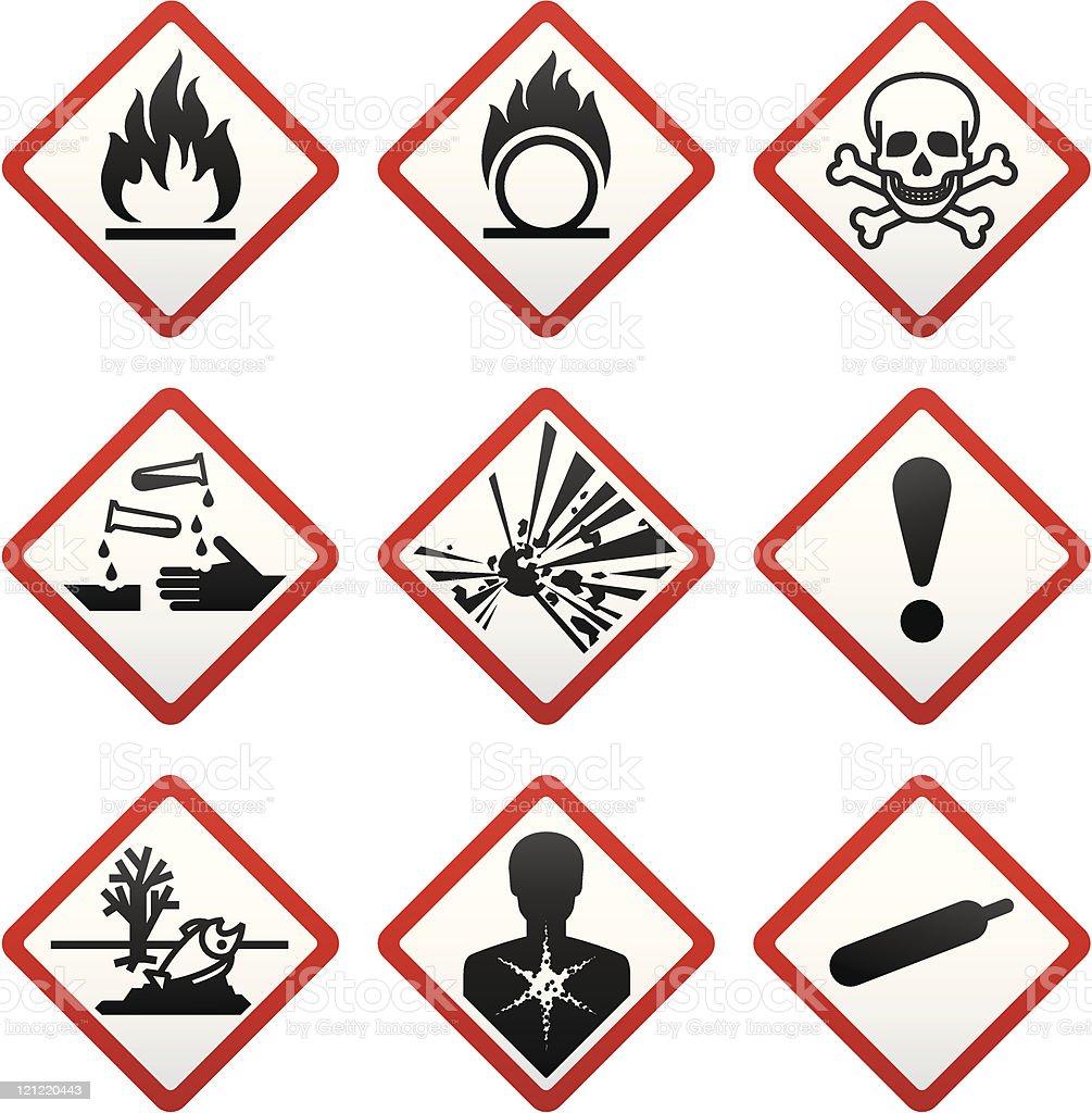 GHS hazard warning symbols. Safety Labels royalty-free stock vector art