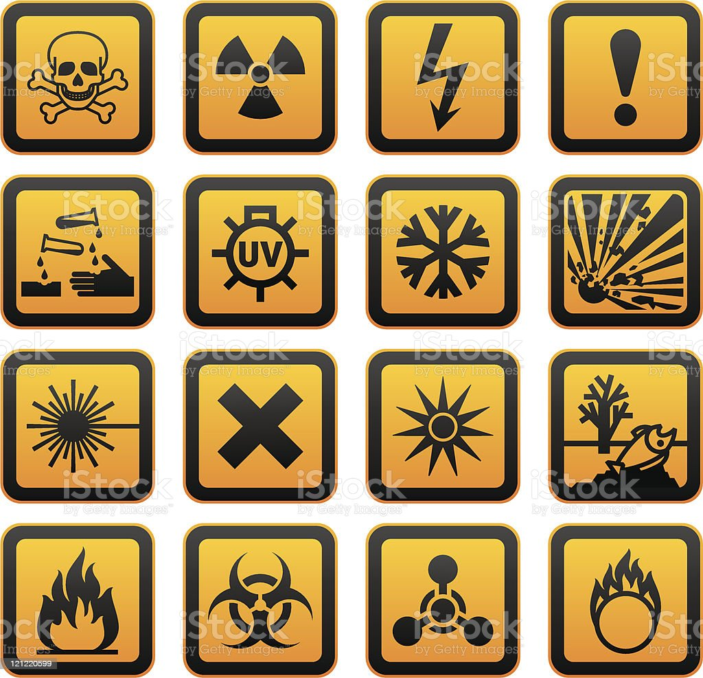 Hazard Warning symbols royalty-free stock vector art