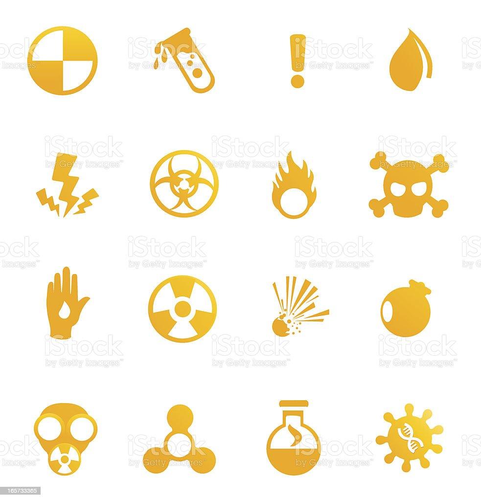 Hazardous materials icons vector art illustration